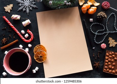 Christmas wish list, coffee, sweets on a black background