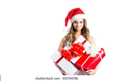 Christmas woman and gifts isolated on white background.