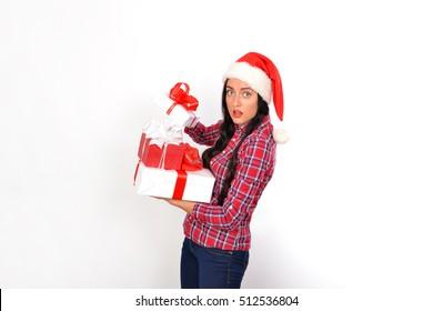 Christmas Woman. Keeps gift boxes