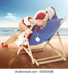 christmas and woman on chair