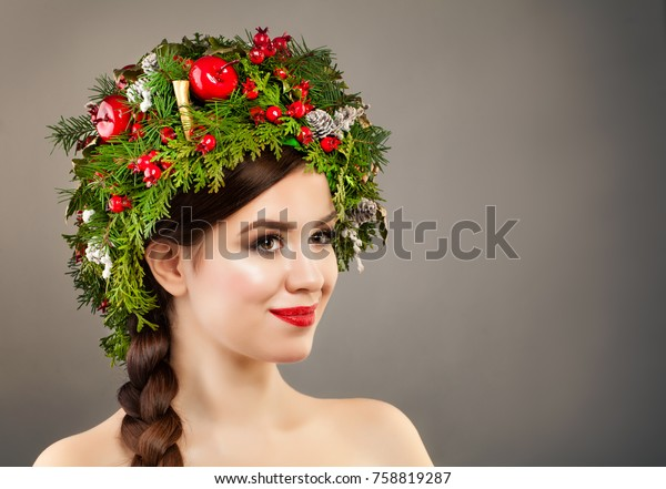 Christmas Woman Xmas Tree Wreath Makeup Stock Photo (Edit