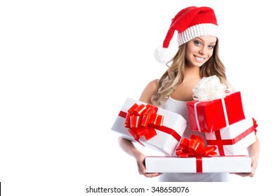 Christmas women with gifts on white background.