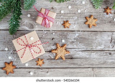 Christmas wood background with christmas decoration, top view