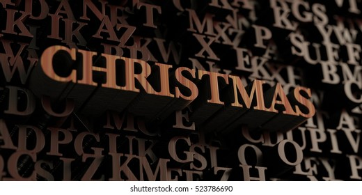 Christmas - Wooden 3D rendered letters/message.  Can be used for an online banner ad or a print postcard.