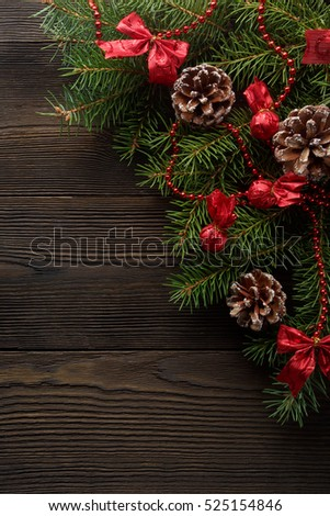 Christmas Wooden Background Christmas Tree Red Stock Photo Edit Now