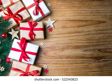 Christmas wooden background view with tree, gift and decoration