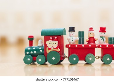 Christmas wooden toy trains, red-green