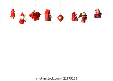 Christmas wooden toys decorations isolated on white