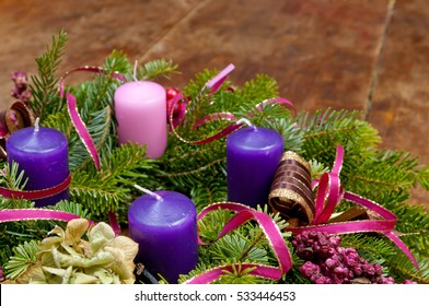 Christmas wreath advent wreath on wooden background with copy space