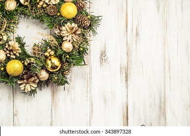 Christmas wreath with baubles useful as christmas background.