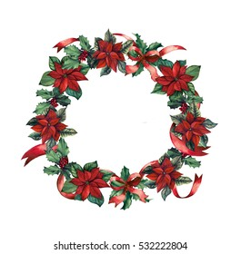 Christmas wreath with berries and poinsettia flowers hand-drawn with waatercolor