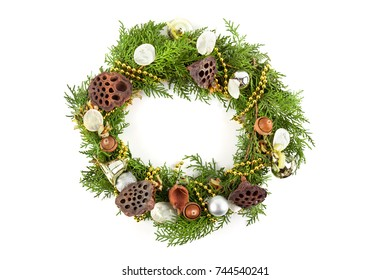 Christmas wreath close up. Decoration for holiday