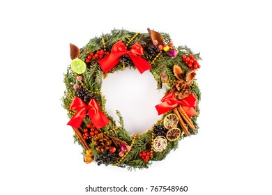 Christmas wreath close up. Happy new year