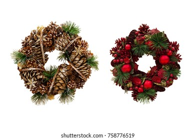 Christmas wreath of cones and apples, New Year's decorations. Isolated, white background.