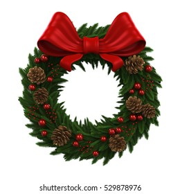 Christmas Wreath Decoration. 3D rendering