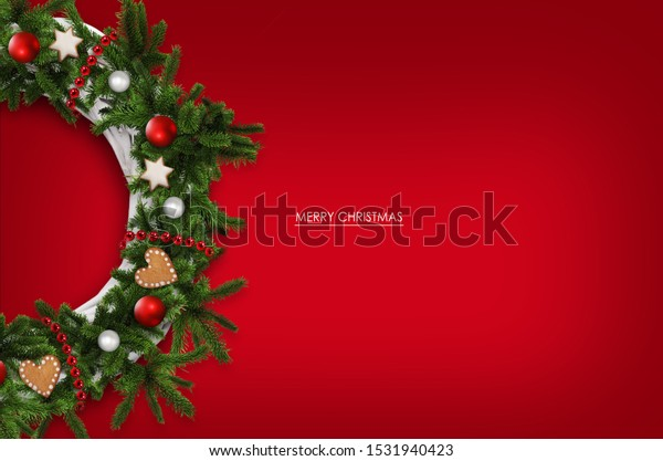 Christmas wreath with decoration background, greetings