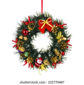 Christmas wreath with decorations, isolated on white