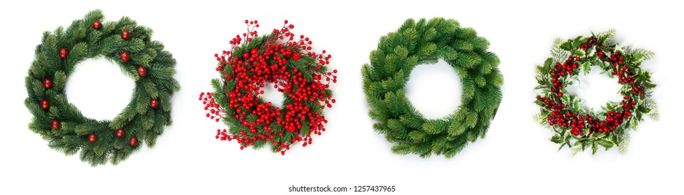 Christmas wreath of evergreen isolated on white background