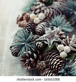 Christmas wreath with a glass star