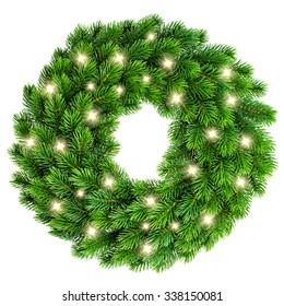 Christmas wreath with golden lights decoration isolated on white background