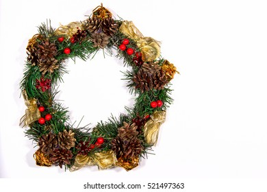 Christmas Wreath Holiday Fir Tree Toy Berries Gift Magic Decor Composition Green Gold White Background Top View