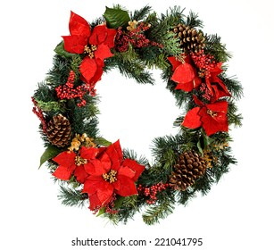 Christmas wreath, isolated on white.