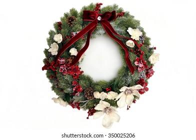 Christmas wreath isolated on white background.