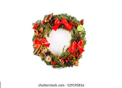 Christmas wreath isolated on white background. Christmas decoration