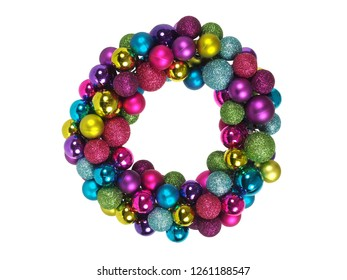 Christmas wreath made from baubles isolated on white background