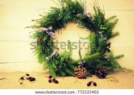 Christmas Wreath Made Evergreen Plants Fir Stock Photo Edit Now