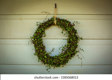 Christmas wreath made from green Maidenhair (muehlenbeckia) vine against background of white painted timber wall.