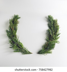 christmas wreath made of pine branches merry christmas and happy new year background flat