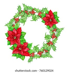 Christmas wreath made of poinsettias and holly berry branches painted with watercolor.