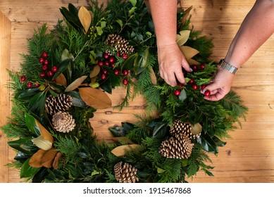Christmas Wreath Making Instructional Photo