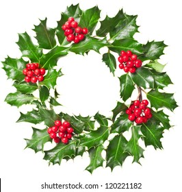 Christmas wreath of nature leaves and berries holly ilex plant isolated on white background