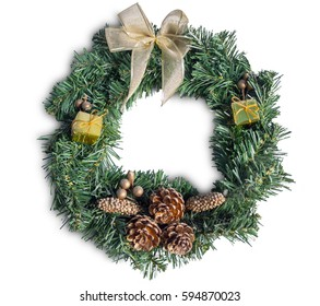 Christmas wreath new year isolated on white background