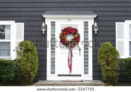 Christmas Wreath On Front Door Stock Photo Edit Now 5567710
