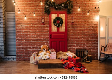 Christmas wreath on red door