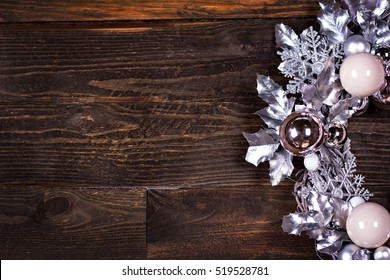 Christmas wreath  on a rustic wooden wall with  copy space
