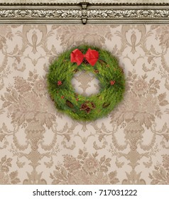 Christmas wreath on a wall with rich tan damask wallpaper