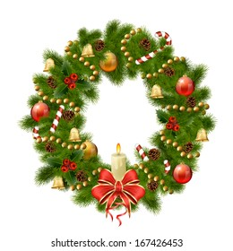 Christmas wreath on white background. Xmas decorations. Raster copy of vector illustration