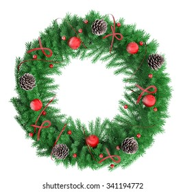 Christmas wreath with red baubles, ribbons and bows fir cones, isolated over white 3d rendering
