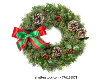 Christmas Wreath with Red Berries,Bow and Cones