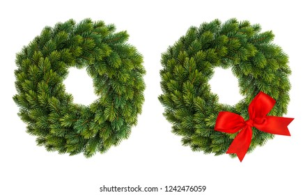 Christmas wreath with red decoration isolated on white background