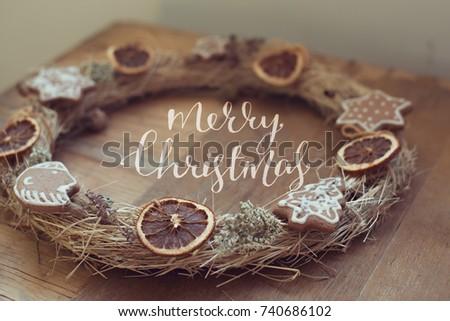 Christmas Wreath Rustic Handmade Merry Christmas Stock Photo Edit