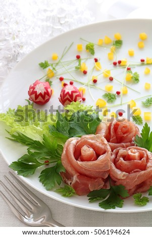 Christmas Wreath Salad Rose Shaped Prosciutto Stock Photo Edit Now