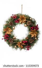 Christmas wreath in a white background