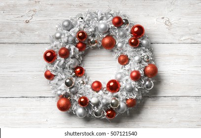 Christmas Wreath Wood Background, Hanging Decoration Balls on Holiday Wooden Planks Wall