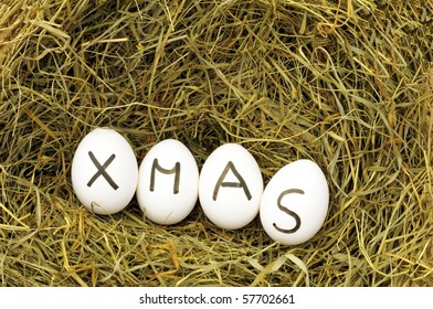 christmas or xmas concept with eggs on green hey or straw