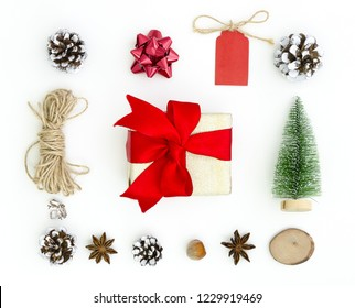 Christmas Xmas New Year greeting card background. Chtistmas tree toys, anise stars, fir cones, rope, gift box. Flat lay, top view of New Year 2019